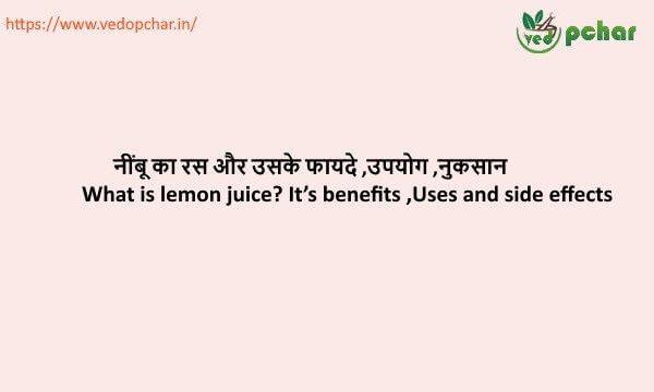 Lemon Juice in hindi : नींबू का रस और उसके फायदे ,उपयोग ,नुकसान